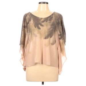 Love Culture Gold Feather Print Flutter Sleeve Top